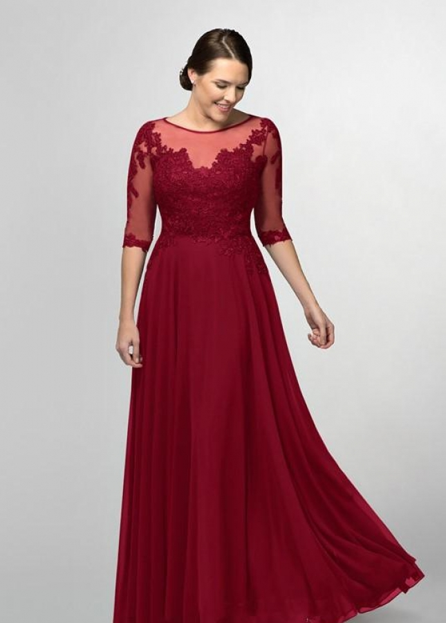 Burgundy Chiffon Long Brides Mother Dresses Plus Size