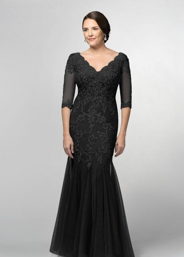 Black Mermaid Bride Mother Formal Dress with Half Sleeves