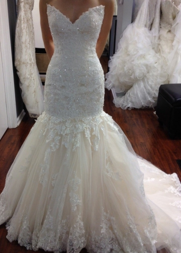Beaded Appliques Lace Mermaid Wedding Dresses with Tulle Skirt