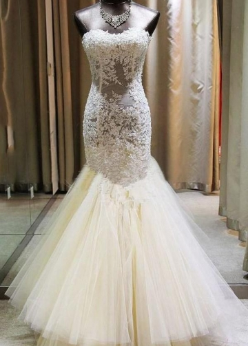 Beaded Lace Illusion Mermaid Wedding Gown with Long Train