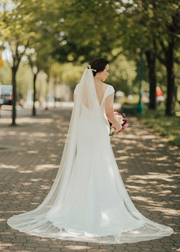 Bateau Cap Sleeves Ivory Wedding Dresses with Beaded Sash