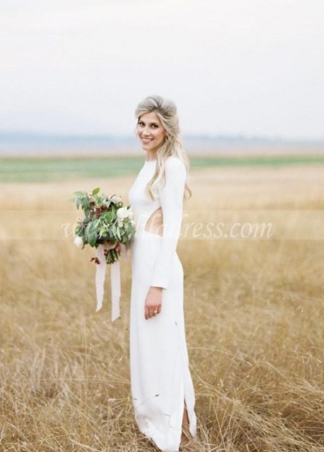 Bateau Simple Outdoor Wedding Dress with Long Sleeves