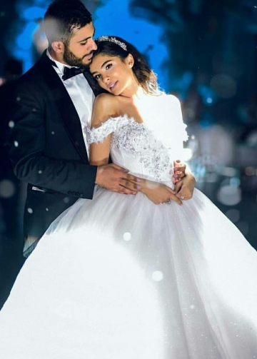 Beaded Lace Off-the-shoulder Wedding Dress with Shiny Tulle Skirt
