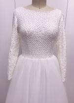 Beaded Bodice Muslim Wedding Dress with Sequin Tulle Skirt