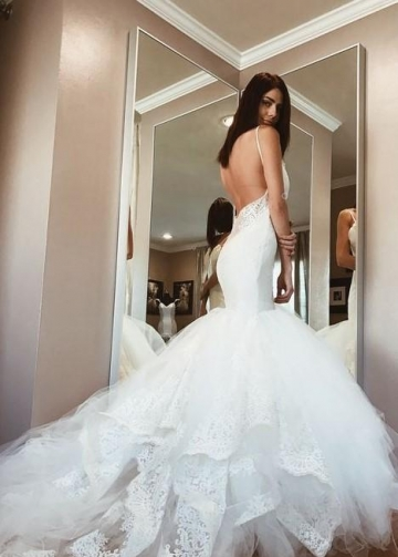 Backless Mermaid Wedding Gown Dress with Lace Cathedral Tulle Train