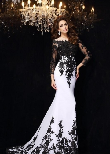 Black Floral Lace Wedding Dress White Illusion Neckline