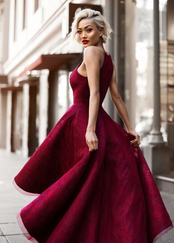 Burgundy Lace High Low Prom Dresses with Halter Strap