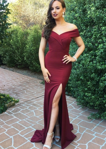 Burgundy Satin Long Formal Evening Dresses with Side Slit