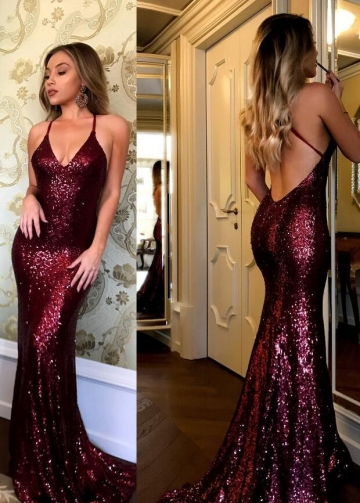Burgundy Sequin Prom Dresses with Open Back vestido de fiesta