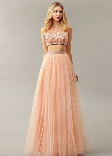 Beaded Top Sleeveless Blush Prom Dress Two Piece