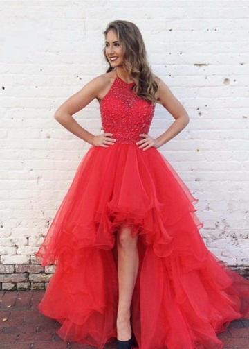 Beaded Crystals Red Hi-lo Prom Dresses with Halter Straps