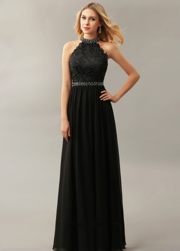 Beading High Neck Lace Chiffon Black Prom Dresses Online