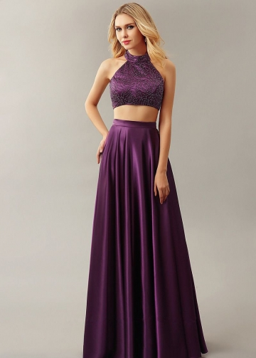 Bead Rose Purple Two Piece Prom Dresses 2018 Formal Dress