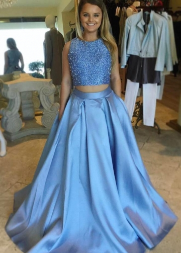 Beaded Top Two Piece Prom Dresses with Satin Skirt