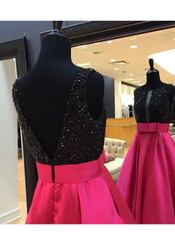 Black Rhinestones Fuchsia Satin Prom Dresses Long