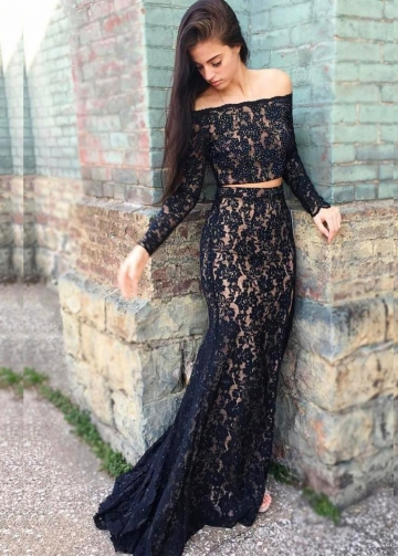 Bead Lace Two Piece Off-the-shoulder Lace Evening Dresses Long Sleeves