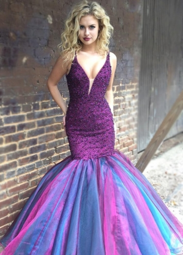 Beaded Purple Mermaid Evening Prom Dresses with Plunging V-neck