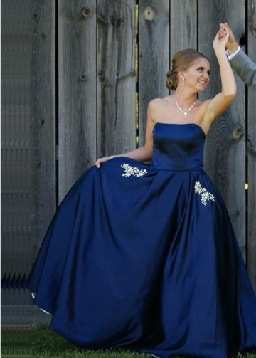 Backless Strapless Navy Prom Dresses with Rhinestones Pockets