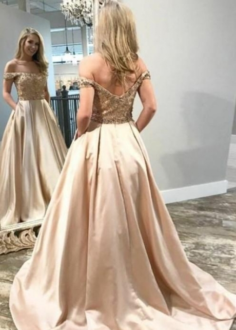 Beaded Champagne Satin Evening Prom Dress Off-the-shoulder