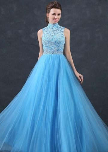 Beaded Appliques Lace Blue Prom Dresses with Tulle Skirt