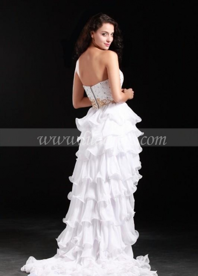 Beaded Strapless White Hi-lo Prom Dresses with Tiered Skirt