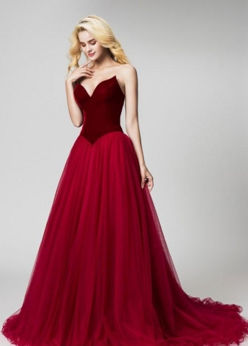 Burgundy Velvet Evening Dresses with Tulle Skirt