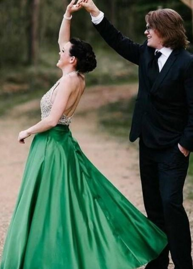 Beaded Bodice Green Prom Dress with Halter Strap
