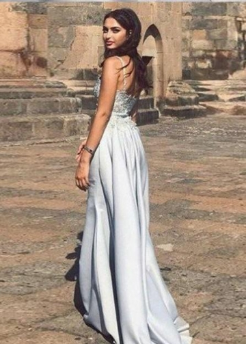 Beaded Neckline Long Prom Dress with Satin Overskirt