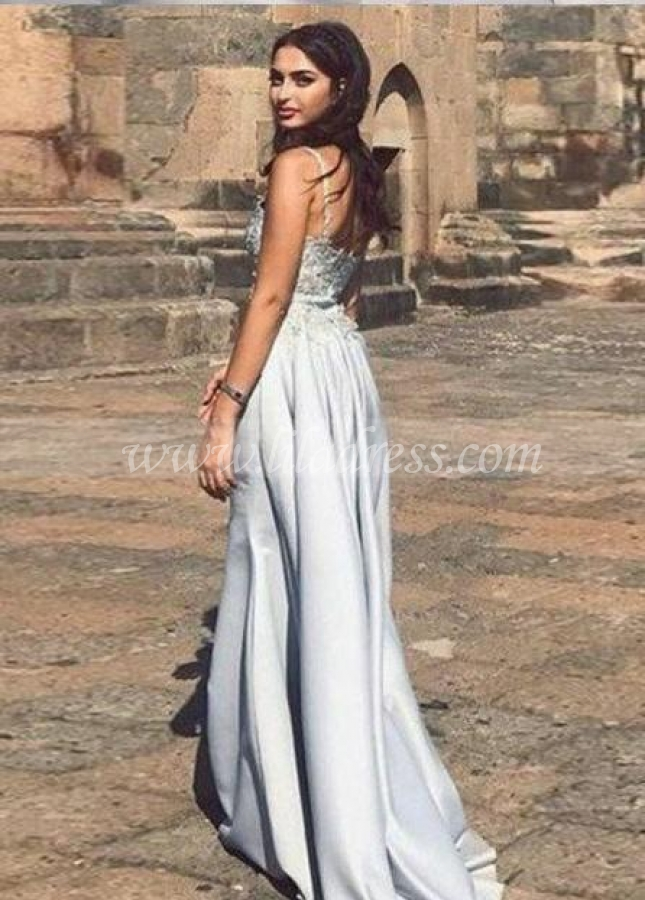 Beaded Neckline Long Prom Dress with Satin Overskirt