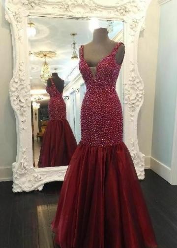 Burgundy Rhinestones Mermaid Evening Dress with Organza Skirt