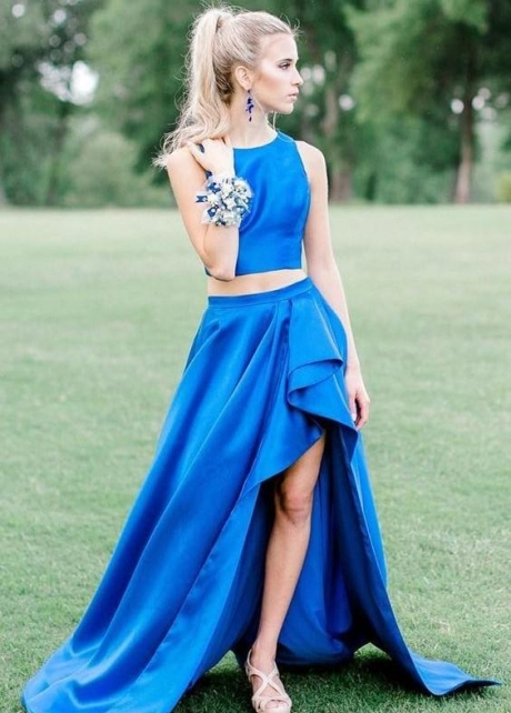 Blue Two Piece Prom Gown with Asymmetrical Skirt