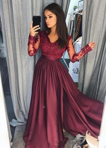 Burgundy Lace Evening Dress with Illusion Long Sleeves