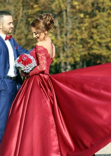 Burgundy Prom Dresses Beaded Lace Sleeves with Satin Skirt