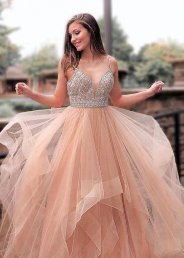 Blush Pink Tulle Prom Party Gown with Beaded Bodice