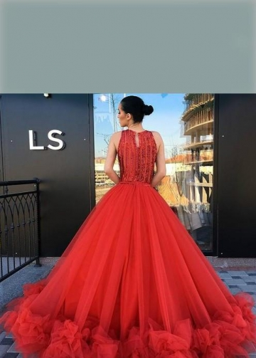 Beaded Bodice Red Prom Dresses Tulle Skirt Ruffled Hem