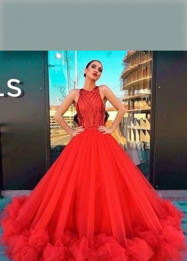 Beaded Bodice Red Prom Dresses Tulle Skirt Ruffled Hem