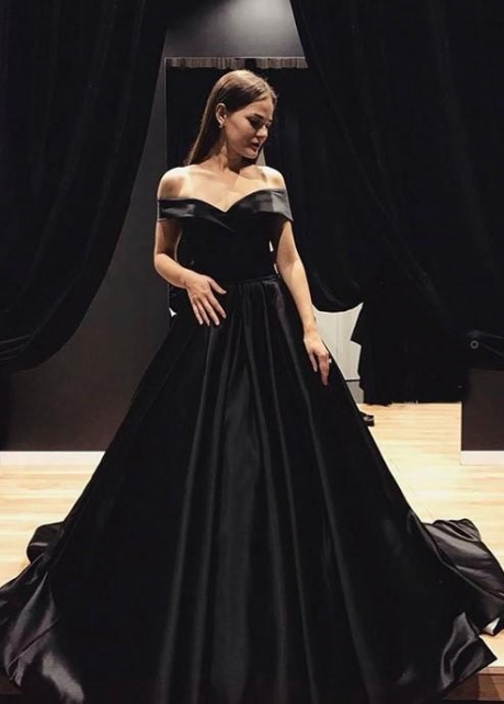 Black Satin Evening Gown with Fold Off-the-shoulder