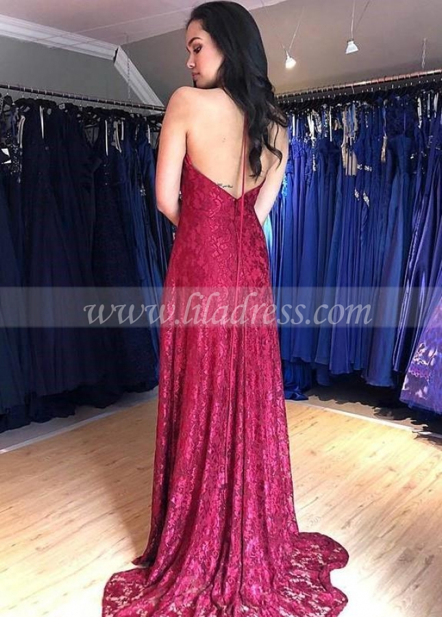Breathtaking Long Lace Prom Gown with Halter Straps