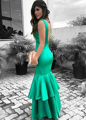 Fantastic Acetate Satin V-neck Neckline Mermaid Prom Dress
