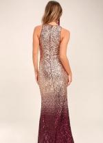 Burgundy Shadow Sequin Maxi Prom Dress Online