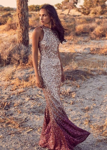 Burgundy Shadow Sequin Maxi Prom Dress Online