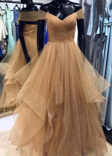 Brown Tulle Off-the-shoulder Prom Dress with Layered Skirt