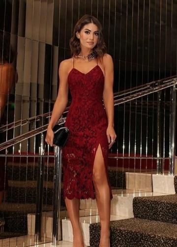 Burgundy Lace Cocktail Dresses Tea-Length Vestido de coctail