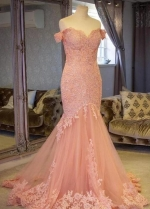 Blush Pink Lace Mermaid Evening Gown Dress with Off-the-shoulder