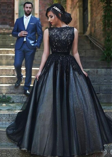 Elegant Tulle Bateau Neckline Ball Gown Formal Dresses With Lace Appliques