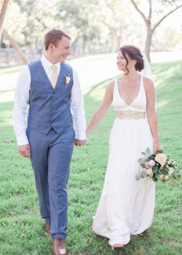 Bold V-neck Floor Length Destination Bridal Dress Wedding Crisscross Back