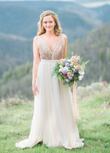 Backless V-neckline Sequin and Chiffon Wedding Dress Boho