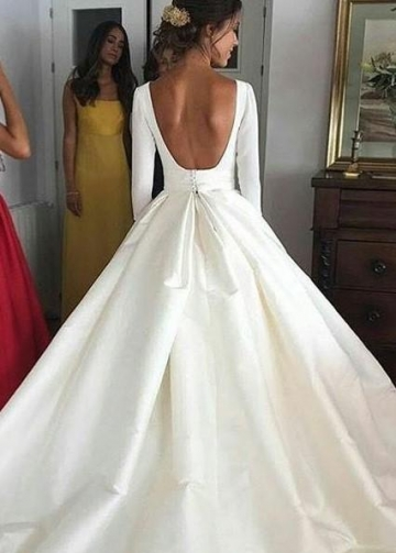 Bateau Neck Satin Wedding Gowns with 3/4 Sleeves