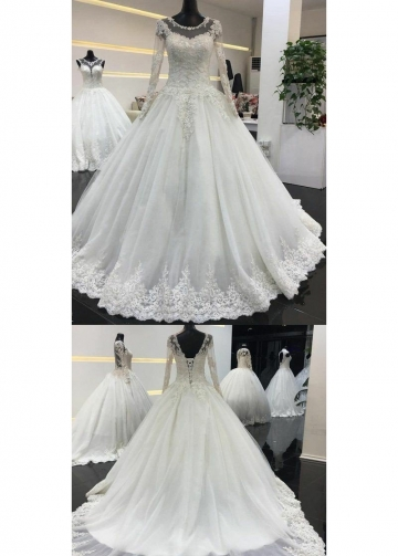 Beaded Lace Long Sleeves Wedding Dresses Tulle Skirt