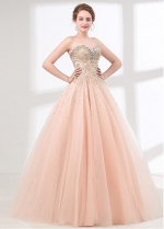 Absorbing Tulle Sweetheart Neckine A-line Prom Dress With Beadings & Rhinestones & Lace Appliques
